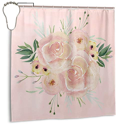 (Puloa Wild Roses on Seashell Pink Watercolor Shower Curtains with 12PCS Stainless Steel Hooks Rings,Durable Mildew Bathroom Curtain 72