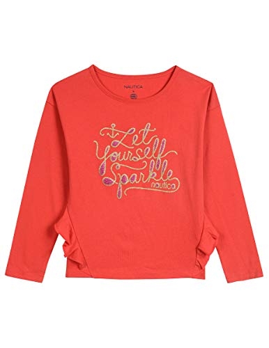 (Nautica Toddler Girls' Long Sleeve Holiday Fashion Graphic Tops, True red,)