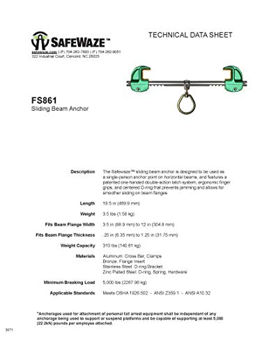 SafeWaze Sliding Beam Anchor, Construction and Industrial Use, Fits 3 1/2-13 1/4'' Wide I-Beams up to 1 1/4'' Thick, Fall Protection Device, OSHA/ANSI Compliant (FS861) by SafeWaze (Image #2)
