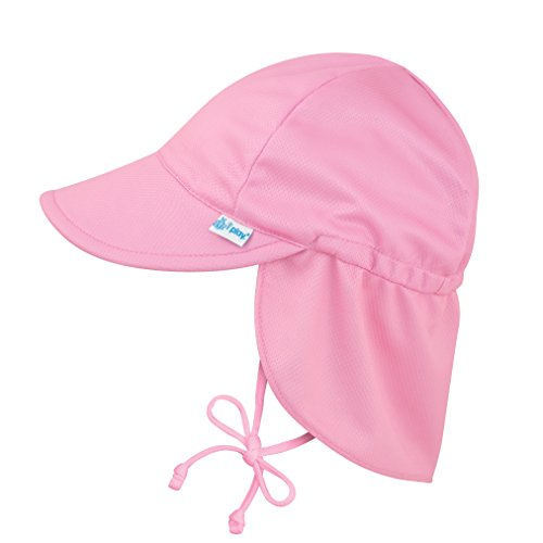 Girls Sun Hat Cap - i play. Baby Girl's Breatheasy Flap Sun Protection Hat Hat, Light Pink, 9/18mo