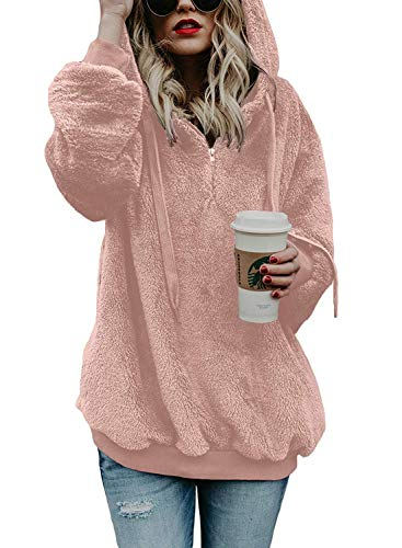 Douremifa Hooded Sherpa Pullovers Hooded Sweatshirt for Women Long Sleeve Winter Fashion Fuzzy Solid Coat Jacket with Pockets 1/4 Zip Pink S
