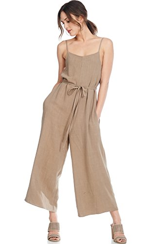 A+D Womens Casual Linen Spaghetti Strap Sexy Jumpsuit Rompers