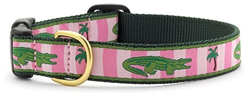 Preppy Pink Alligator Pet Dog Collar by Up Country (Medium Wide) - Alligator Collar