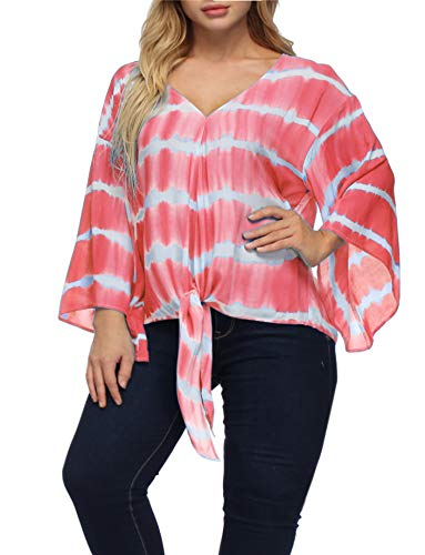 - Women Chiffon Blouse Plus Size Tie Dye Striped Shirt Trumpet Sleeve Tie Knot Summer T-Shirt Tops Pink