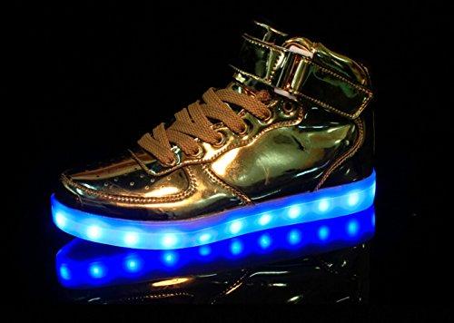 Toota 8 Colori Light Up High Top Caricabatterie Usb Led Da Donna E Da Uomo Scarpe Da Ginnastica Lampeggianti Color Oro