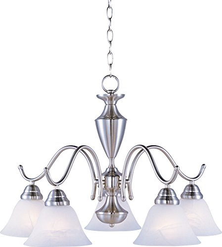 Maxim 12062MRSN Newport 5-Light Chandelier, Satin Nickel Finish, Marble Glass, MB Incandescent Incandescent Bulb , 60W Max., Damp Safety Rating, Standard Dimmable, Opal Glass Shade Material, Rated Lumens - Nickel Newport 1 Light
