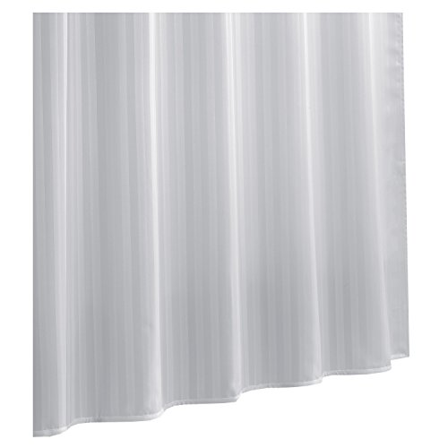 Ex-Cell Damask Stripe Fabric Shower Curtain Liner, White by excell