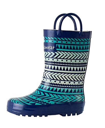 OAKI Kids Rubber Rain Boots with Easy-On Handles, Tribal, 7T US Toddler