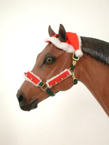 - 2 Ear Horse Holiday Christmas Santa Hat with Jingle Bells on It. (No fleece covers only hat)