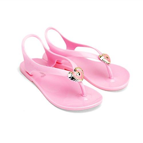 Química Dos Corazones Chica Niños Niños Planos Tobillo Correa T Sandalias Correa Resbalón Zapatos Rosa
