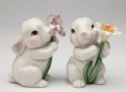 Cute Bunny Rabbits Couple with Flowers Salt & Pepper Shakers