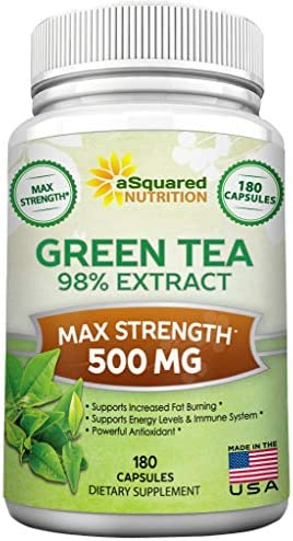 Green Tea Extract Supplement with EGCG – 180 Capsules – Max Potency Green Tea Fat Burner 500 mg Pills for Weight Loss, Boost Metabolism Heart Health, All-Natural Low Caffeine Diet Detox Antioxidant