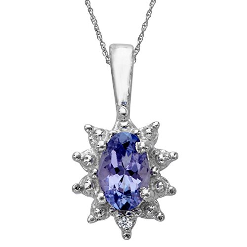 3/8 ct Natural Tanzanite Pendant Necklace with Diamond in Sterling Silver