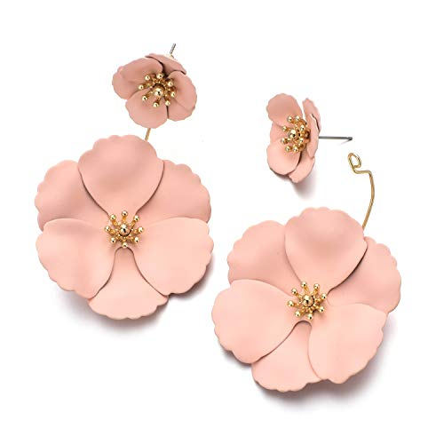 Metal Matte Dual Flower Petal Tiered Earrings Pierced Garden Party Drop Dangle Earrings For Women