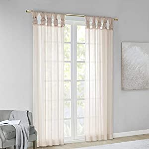 """Madison Park DIY Twisted Tab Sheer Window Curtain Panel Pair Voile Privacy Drape for Bedroom, Livingroom, 50"""" x 95"""", Blush, 2 Piece"""