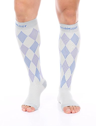 Doc Miller Premium Open Toe Compression Socks 1 Pair 30-40 mmHg Medical Grade Support Graduated Pressure Recovery Circulation Varicose Veins Airplane Maternity Stockings (GrayBlueViolet, X-Large)
