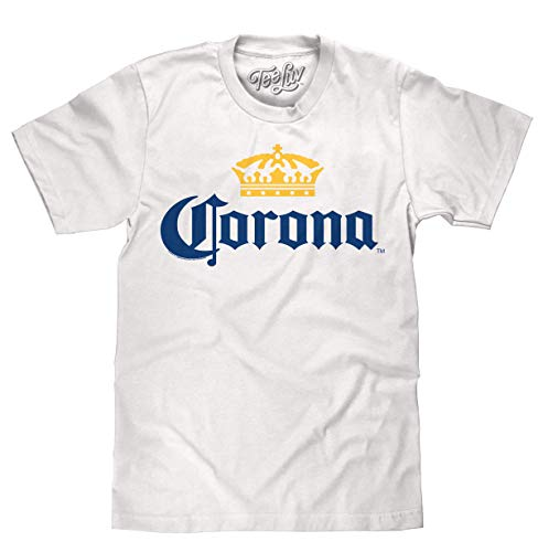 Tee Luv Corona T-Shirt - Licensed Corona Beer Shirt (White) (XX-Large)
