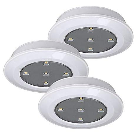 ledmaxx ub1001 a + +, Juego de 3 lámparas led funciona con pilas, 0.3 W, Integrado, Blanco, 10 x 10 x 2.5 cm: Amazon.es: Iluminación