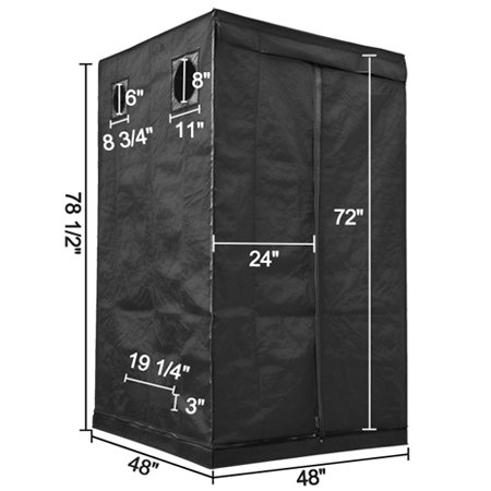 4'X4'X6'6'' Hydroponics Grow Tent Plant Growing Box 100% Reflective Interior Mylar 48''x48''x78'' Dark Room