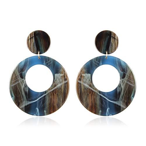 RIAH FASHION Acetate Stone Geometric Shape Earrings - Multi Color Marbled Acrylic Resin Statement Oval Hoop Drop/Ellipse/Hexagon/Flower Leaf Dangles (Circle Hoop Dangles - Blue)