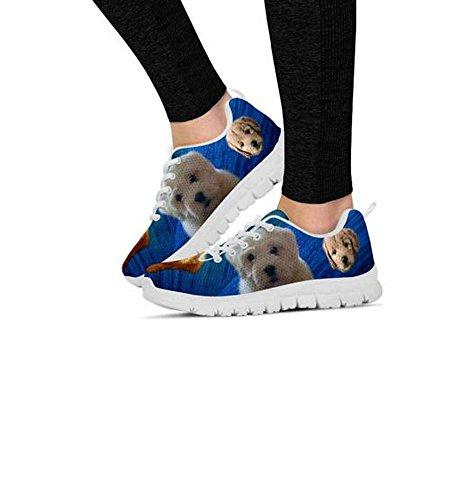 Cute Sneakers Golden Print Women's Doodle White Dog Shoetup Casual d1xwq0dC
