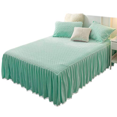 LIFEREVO Luxury Velvet Diamond Quilted Fitted Bed Sheet 3 Side Coverage 18 inch Drop Dust Ruffle Bed Skirt with Pompoms Fringe (King, Mint)