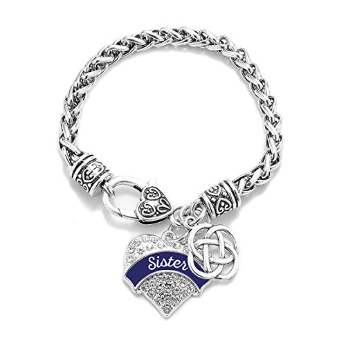 Inspired Silver Navy Blue Sister Celtic Knot Pave Heart Clear Cystal Charm Bracelet by Inspired Silver