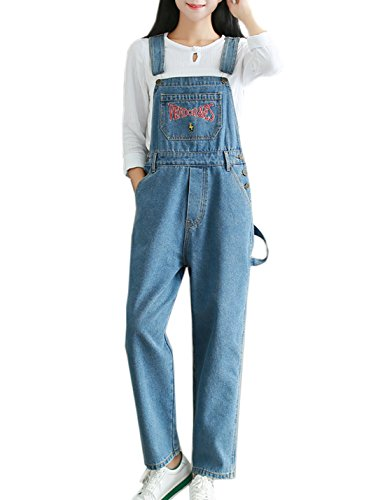 09e5d5c4cbcc Flygo Women s Casual Vintage Embroidered Denim Bib Overalls Wide Leg  Cropped Harem Pants Jumpsuit (Small