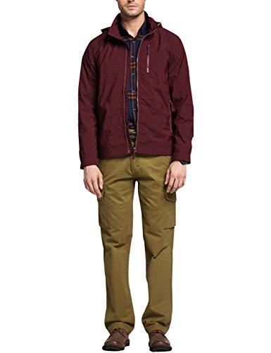 Yeokou Men's Lapel Hood Solid Color Zip-Up Loose Short Trench Coat Jacket Wine Red