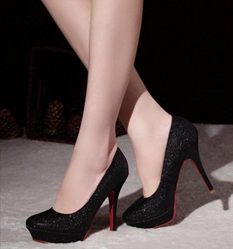 11cm 9 Blacke 11 De DE Mujer Sexy De Zapatos Altos Boda Cm Plataforma Nupcial Lentejuelas De Tacones Tacones x61CTwqx