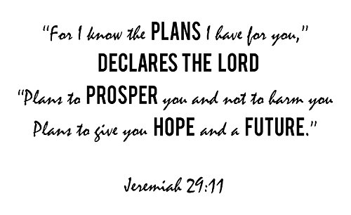 Jeremiah 29:11 - Removable Bible Verses Inspired Christian Scriptures Vinyl Wall Decal and Art Quote - A Inspirational Quotes Decor Sticker Design Artwork Made in (Colleges For Costume Designers)