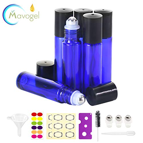 6,10ml Roller Bottles for Essential Oils - Cobalt Blue, Glass with Stainless Steel Roller Balls by Mavogel (3 Extra Roller Balls, 24 Pieces Labels, Opener, Funnel, Dropper, Brush Included)