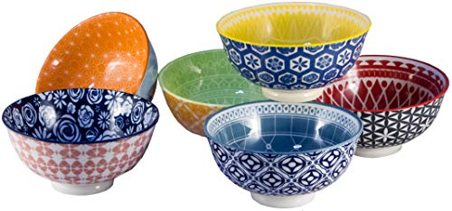 Annovero Cereal Bowls, Large Porcelain Bowls Perfect for Cereal, Soup, or Pasta, Microwave & Dishwasher Safe, 6.1 Inch, Set of 6 Multi-Colored Patterned Designs (Amazon Exclusive)