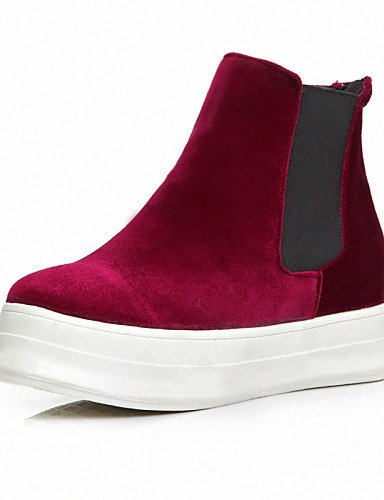 Red Uk6 Casual Rojo Punta Moda Zapatos Negro Blue Azul us6 Eu39 La Xzz Plataforma Mujer Cn39 Cn36 Uk4 Terciopelo A De Redonda Botas Eu36 us8 6U6nqpwZxv