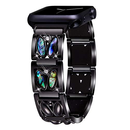 VIQIV Bracelet Bands for Compatible Apple Watch 38mm 42mm 40mm 44mm Iwatch Series 4 3 2 1, Dressy Diamond Rhinestone Metal Bling Jewelry Wristband Strap for Women Men Black