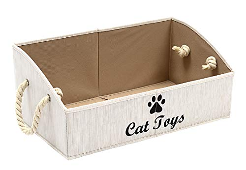 Morezi Canvas Pet Toy and Accessory Storage Bin, Basket Chest Organizer – Perfect for Organizing Pet Toys, Blankets…