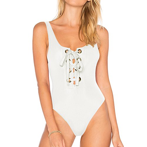 Top Dixperfect Women One Piece Swimwear Front Lace Up High Cut Maillot Oversized Grommet
