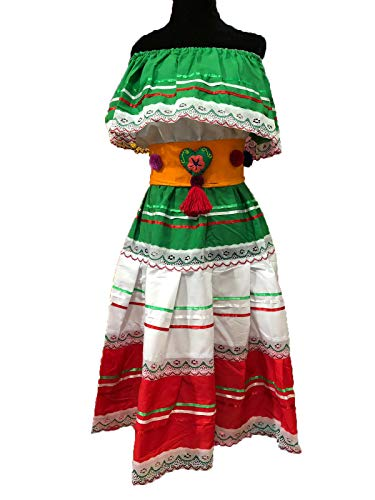 Mexican Womans Dress Color White, Red and Gren Small Size fits All Day of The Dead Coco Theme Party -