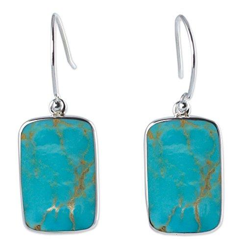 - NOVICA Turquoise .925 Sterling Silver Dangle Hook Earrings 'Caribbean Mosaic'