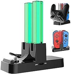 【進化版】ジョイコン 充電 Joy-Con Nintendo Switch用コントローラー充電 5WAY充電可能 急速充電 プローコントローラー充電ホルダー チャージャー 充電指示LED付き (ブラック)