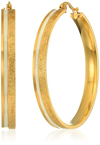 Ladies 18k Gold Plated Stainless Steel Glitter and White Enamel 45mm Hoop Earrings