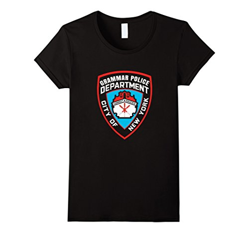 Department Of Correction Costume (Womens Grammar Police Department Corrections Inmate Costume T-Shirt XL Black)