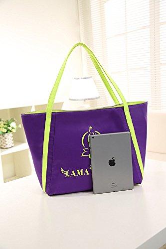 Capacidad grande de peso ligero con estilo bolsa de viaje bolsa de la momia PU material pañal cambio de bolsa LM002 Purple púrpura