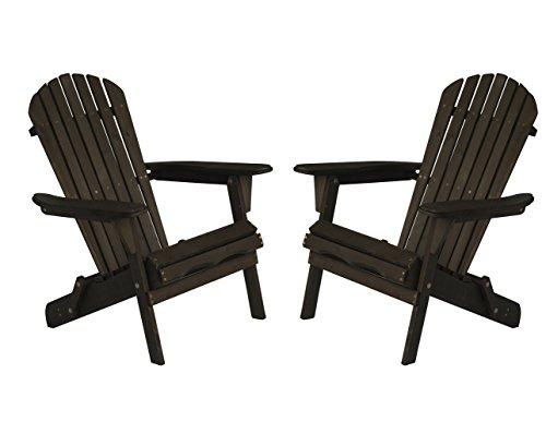 2PC Set Carabelle Patio Outdoor Lawn & Garden Deck Villaret Adirondack Wood Chair (Dark Brown)