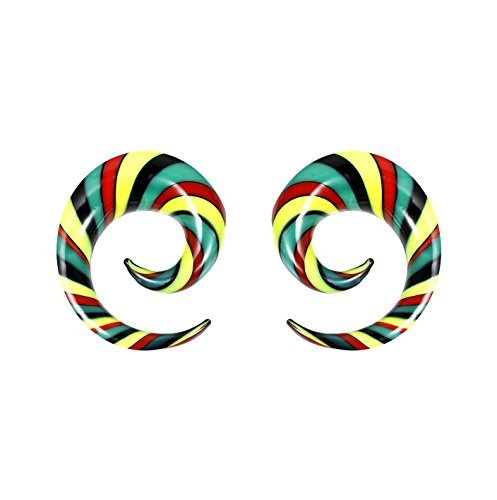 - BodyJ4You 2PC Glass Ear Tapers Plugs 00G Rasta Flag Multicolor Spiral Gauges Piercing Jewelry Set