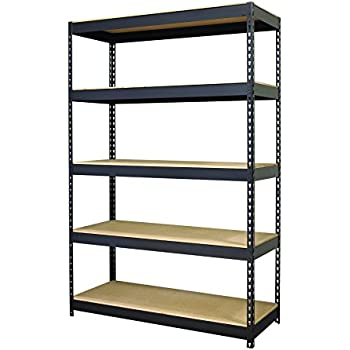 Hirsh Industries Steel 5-Shelf Unit, 48 by 18 by 72-Inch, Black