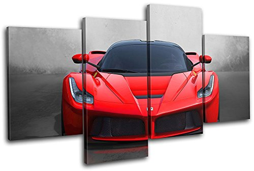 Bold Bloc Design - La Ferrari Exotic Supercar Cars 80x45cm MULTI Canvas Art Print Box Framed Picture Wall Hanging - Hand Made In The UK - Framed And Ready To Hang by Bold Bloc Design