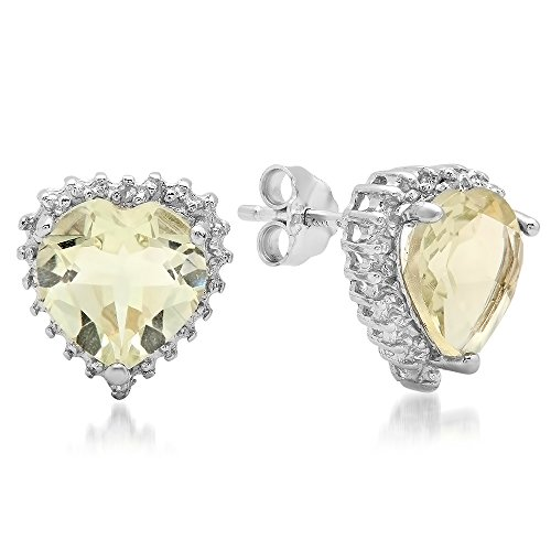 Dazzlingrock Collection 3.26 Carat (ctw) Heart & Round Green Amethyst & White Diamond Accents Stud Earrings, Sterling Silver