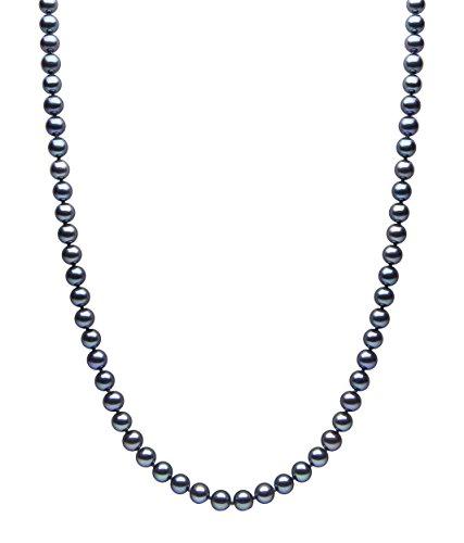 Kimura Pearls Femme  18carats (750/1000)  Or blanc|#Gold Rond  Perle d'eau douce chinoise Noir Perle FINENECKLACEBRACELETANKLET