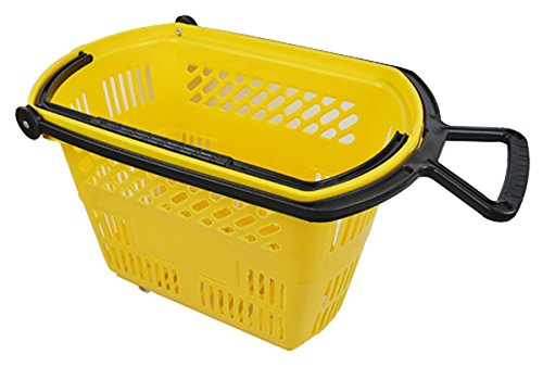 Plastic Rolling Grocery Shopping Basket w/ Pull Handle Retail Store Display Yellow Lot of 6 NEW by Bentley's Display